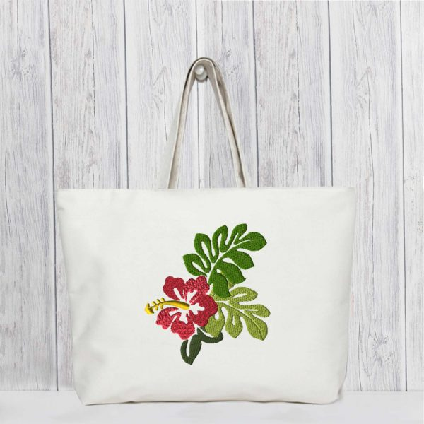 EV1069-hibiscus-flower-embroidery-village-tote